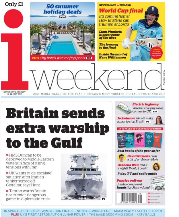 Saturday's i weekend front page