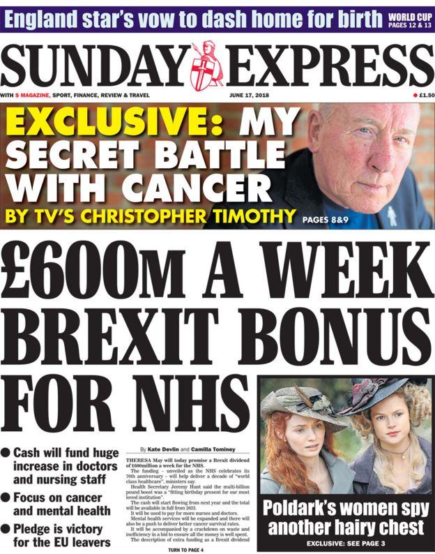Image result for sunday express front page brexit victory