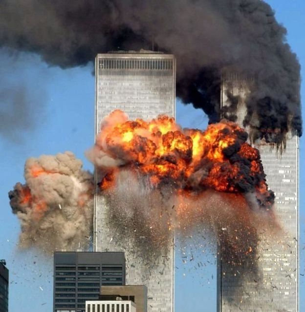 Twin Towers in flames after the September 11 attack