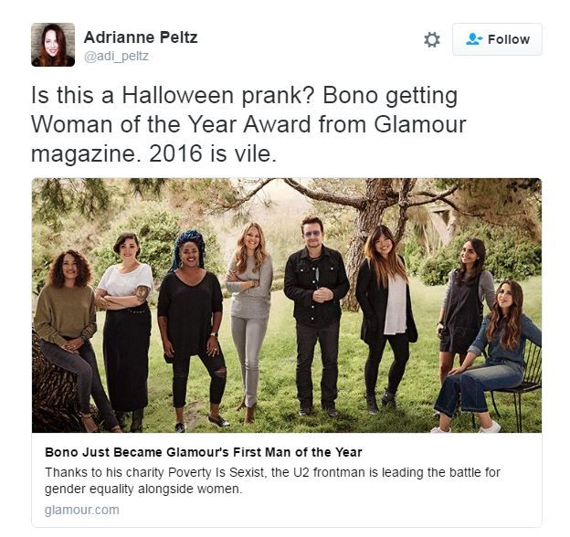 Tweet about Bono getting Woman of the Year - Adrianne Petz asks 'is this a Halloween prank?'