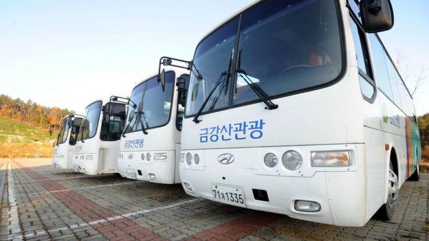 육로 관광에 사용되던 금강산 버스