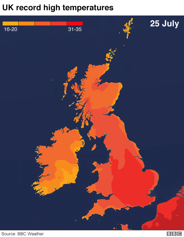 UK weather: The UK\'s record-breaking heat in maps and charts ...