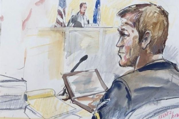 Chief Gallagher in a court sketch
