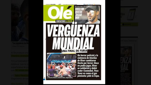 Tapa del diario argentino Olé