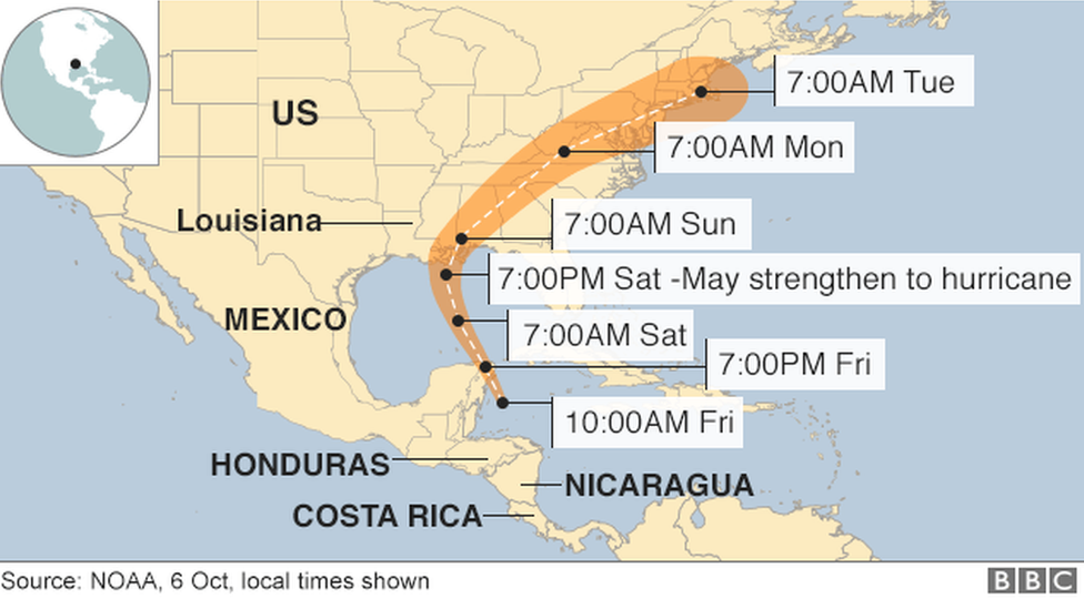 Map showing path of storm Nate