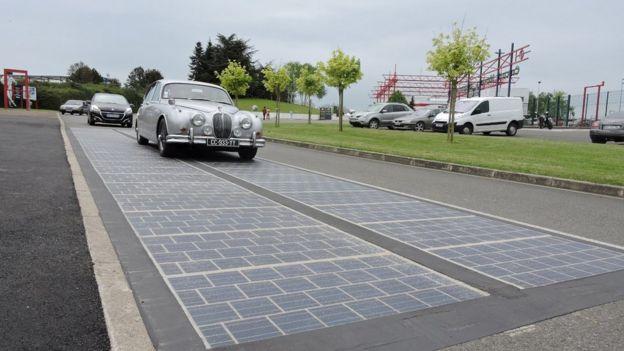 A Wattway stretch of solar road in France