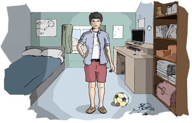 Illustration of a non-binary child in a typical kids' bedroom