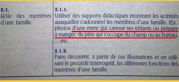 Un texto escolar de Hait'i que muestra prejuicios de género.