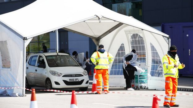 Drive through testing centre in Salford