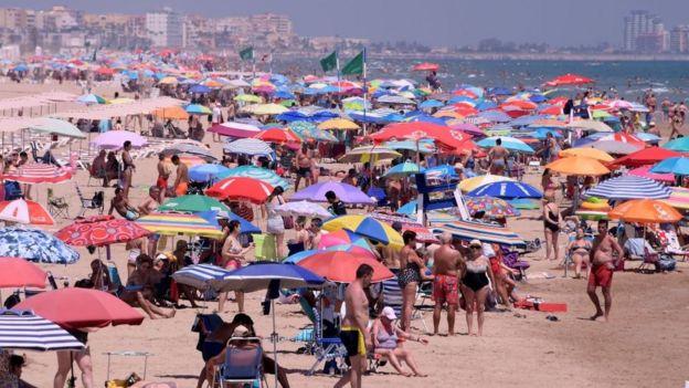 Playa cerca de Valencia, España.