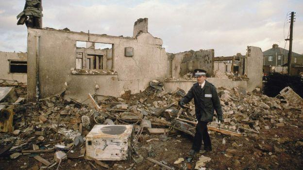 Casa destruida en Lockerbie.