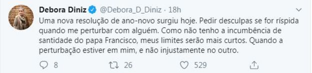 tuite de Débora Diniz