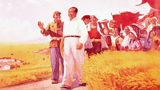 Afiche de propaganda de Mao