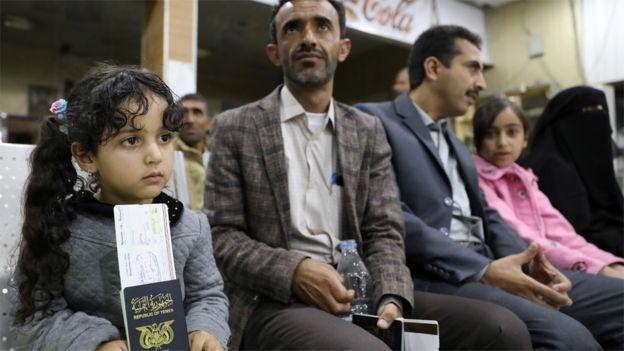 People wait to board a UN medical air bridge flight from Sanaa International Airport in Yemen (3 February 2020)