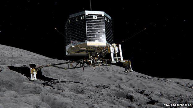 An artists' impression of Rosettas lander Philae landing on Comet 67P/Churyumov-Gerasimenko