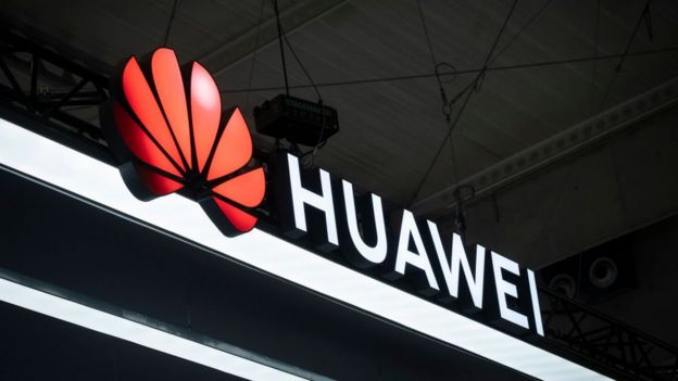 Letrero de Huawei.