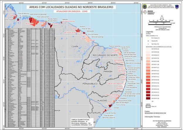 Mapa do vazamento de óleo no Nordeste