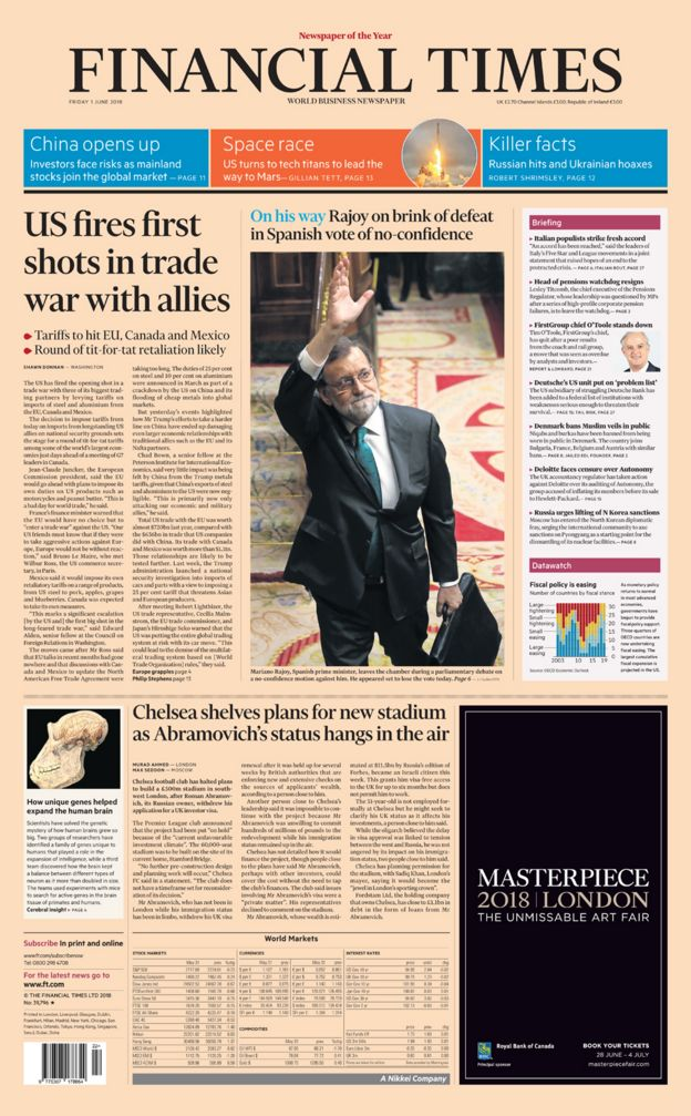 Financial Times front page - 01/06/18