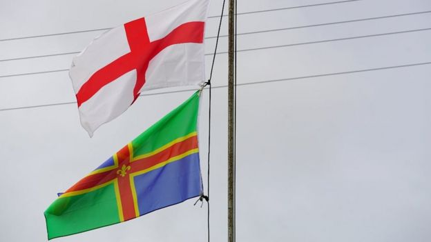 England and Lincolnshire flags fly in Boston