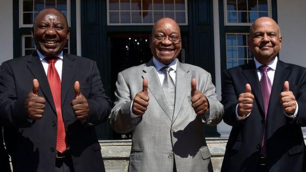 Cyril Ramaphosa, Jacob Zuma na Pravin Gordhan wakati wa siku ya kusomwa bajeti mwezi uliopita