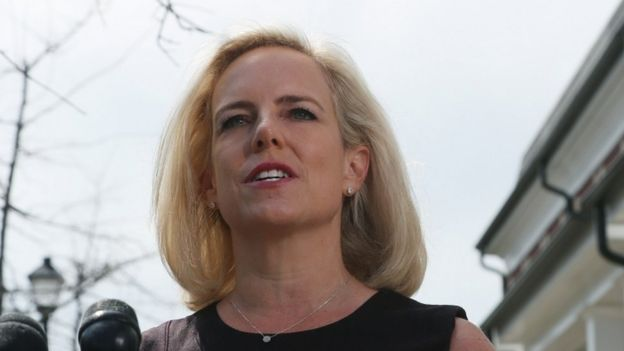 Outgoing Department of Homeland Security Secretary Kirstjen Nielsen speaks to the media outside of her home on April 08, 2019 in Alexandria, Virginia