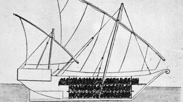 Sketch of a ship used to transport slaves, 1750s