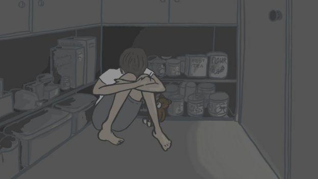 ilustración de una joven encerrada en la despensa.