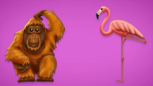 Este orangután rascándose la cabeza y este flamenco rosa son diseños nuevos. Foto: EMOJIPEDIA