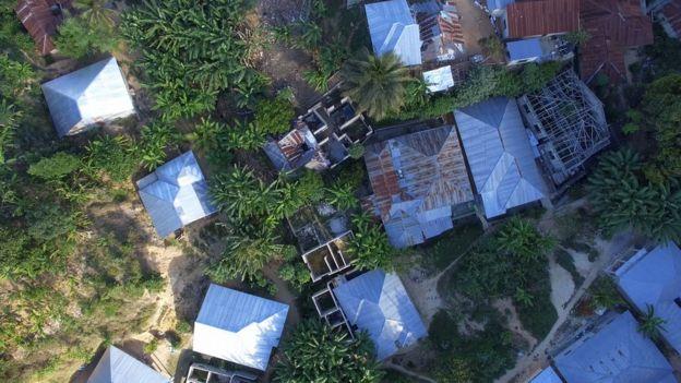Aerial shot of housing settlement