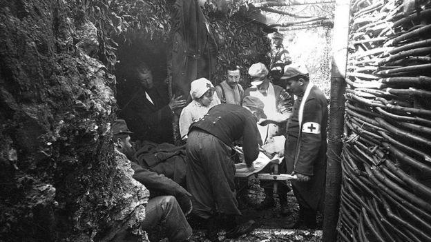 Trinchera durante la Primera Guerra Mundial.