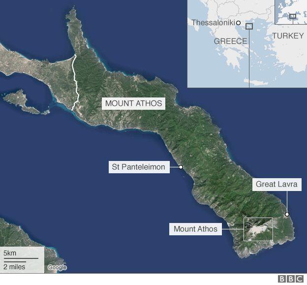 Mount Athos map