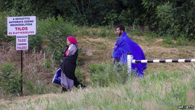 Migrants walk at the green border between Hungary and Serbia near Szeged, Hungary, on June 23, 2015.