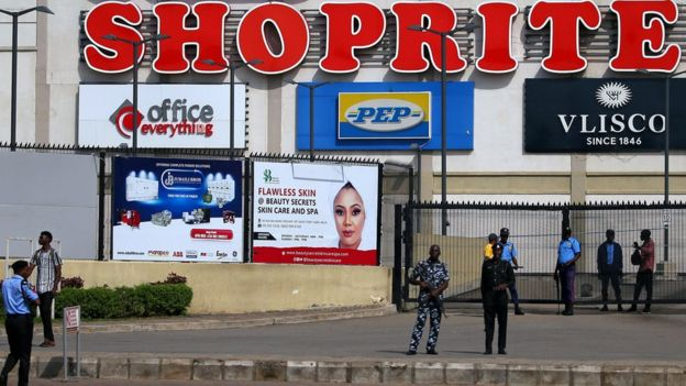 Security men are seen at the gate of Jabi Lake mall in Utako, Abuja, Nigeria September 4, 2019