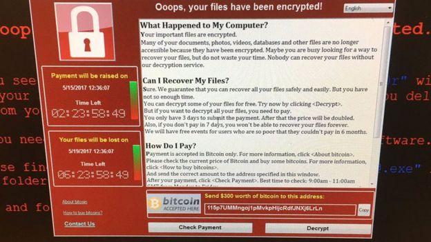Captura del ataque de ransomware