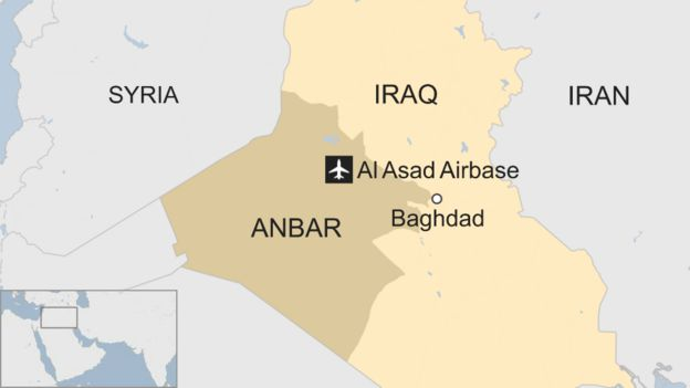 Map of Iraq showing location of Al Asad Airbase