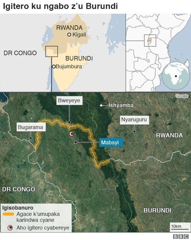 Ikarita igaragaza iby'igitero ku ngabo z'u Burundi