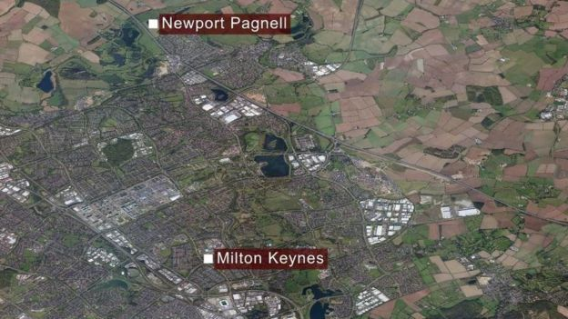 Map of Milton Keynes and Newport Pagnell