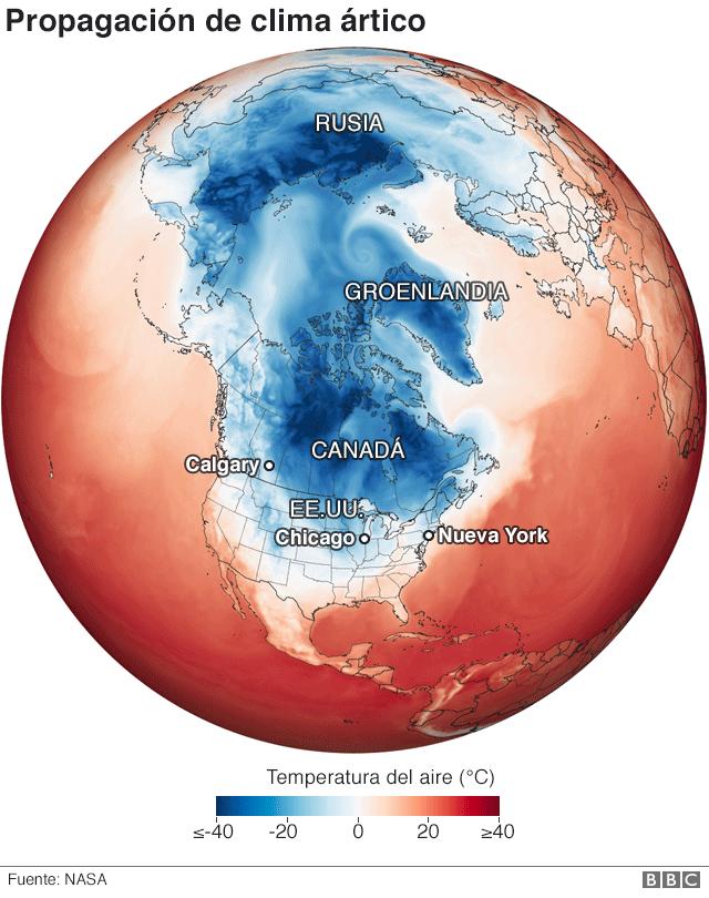 Mapa de propagación de clima ártico
