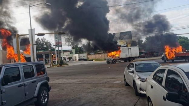Burning vehicles in Culiacán, Mexico. Photo: 17 October 2019