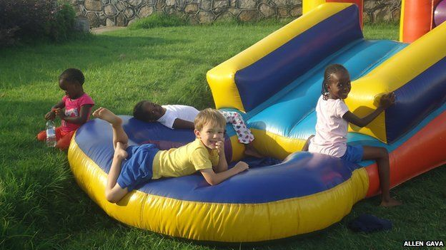 Children playing on a bouncy castle at Gava's Restaurant