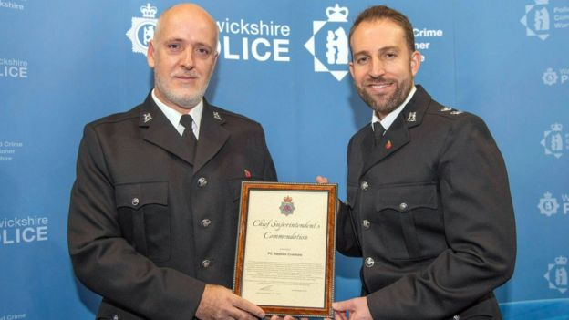 PC Croshaw, pictured with Chief Superintendent Ben Smith