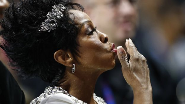 Gladys Knight sang the national anthem at the Mercedes-Benz Stadium in Atlanta