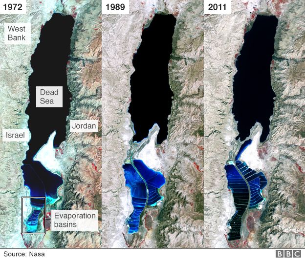 Three satellite images from Nasa showing how the Dead Sea has changed since 1972