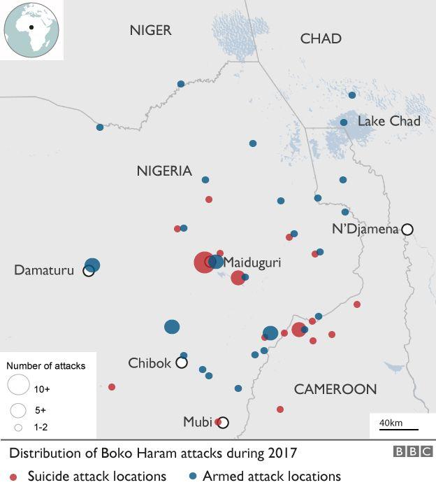 Distribution of Boko Haram attacks in 2017