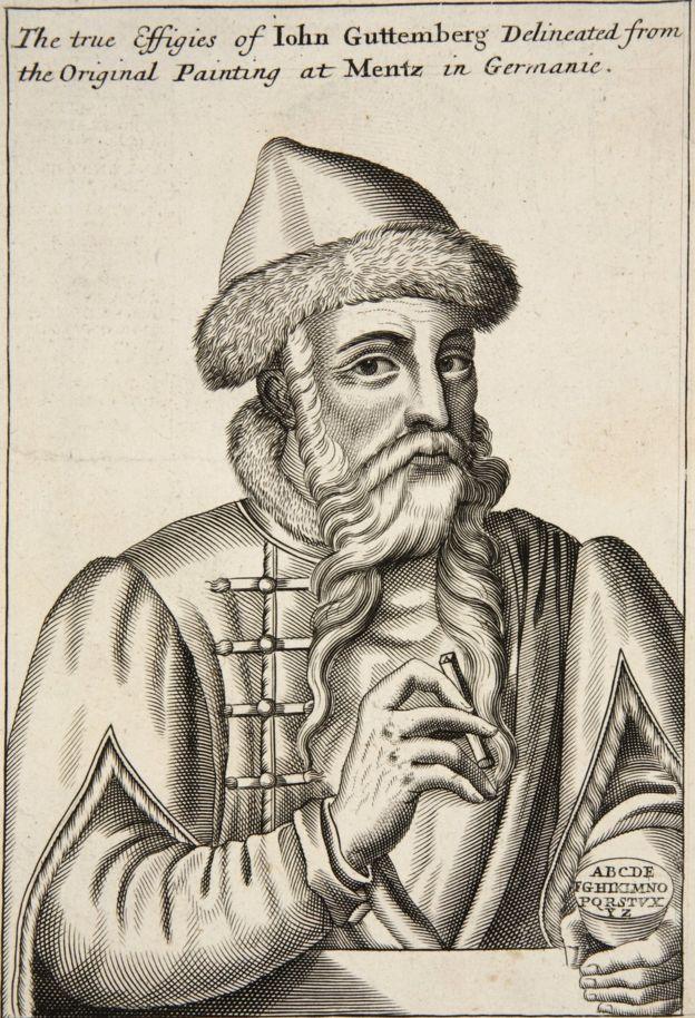 """John Guttemberg, grabado de """"Ejercicios mecánicos o la doctrina de las obras manuales aplicacas al arte de la imprenta"""" publicado en 1683."""