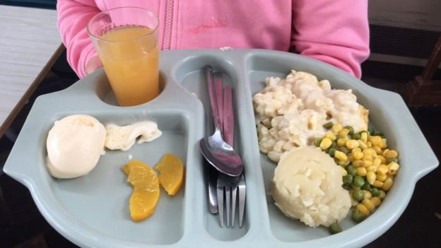 A child holding a school dinner