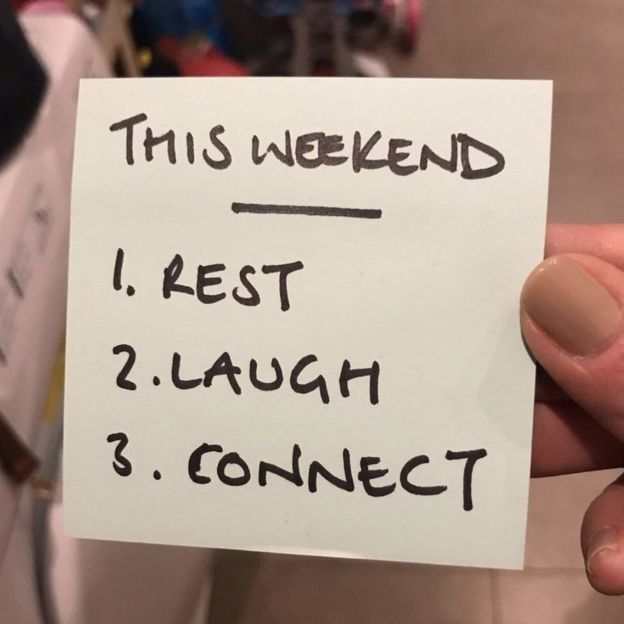 note saying: to do list: rest, laugh, connect