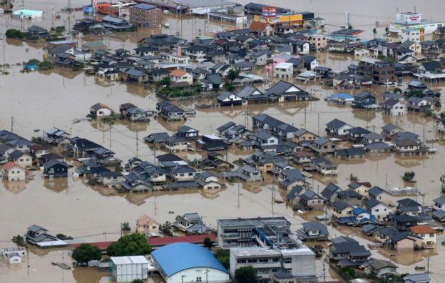 Vista aérea de las inundaciones en el oeste de Japón.