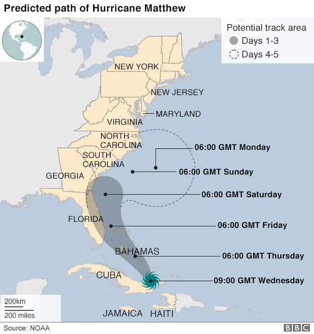 Hurricane Matthew Thousands Displaced In Haiti Bbc News - Map-of-haiti-and-us
