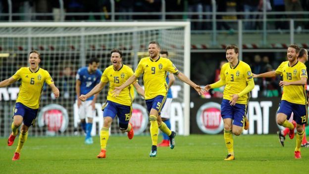 The Swedes celebrate their World Cup